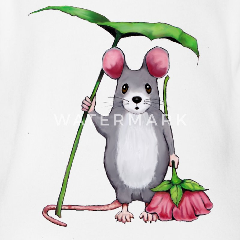 Cute Mouse with Pink Flower and Leaf Umbrella - Short Sleeve Baby Bodysuit
