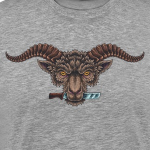 Sheep with horns and knife creativ - Men's Premium T-Shirt