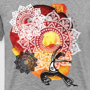 Ethnic watercolor with yoga background T-Shirts - Men's Premium T-Shirt