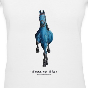 Running-Blue - Women's V-Neck T-Shirt
