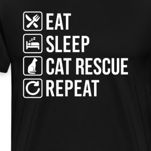Cat Rescue Eat Sleep Repeat T-Shirts - Men's Premium T-Shirt