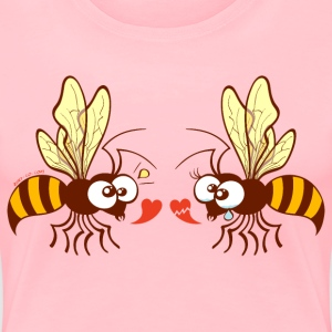 Bees expressing opposite points of view about love Women's T-Shirts - Women's Premium T-Shirt