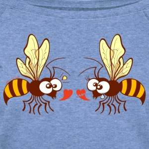 Bees expressing opposite points of view about love Long Sleeve Shirts - Women's Wideneck Sweatshirt