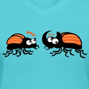 Rhinoceros beetles falling in love Women's T-Shirts - Women's V-Neck T-Shirt