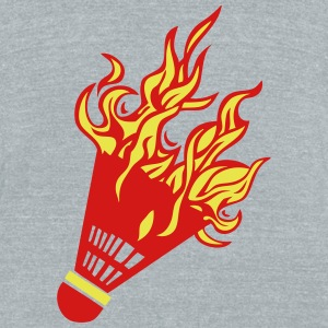 badminton shuttlecock fire flame 1 T-Shirts - Unisex Tri-Blend T-Shirt by American Apparel