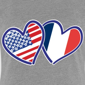 USA Union Jack Love Hearts - Women's Premium T-Shirt