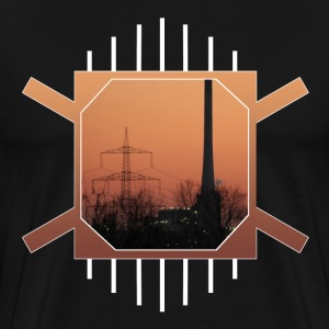 Orange Industrial Skyline - Men's Premium T-Shirt