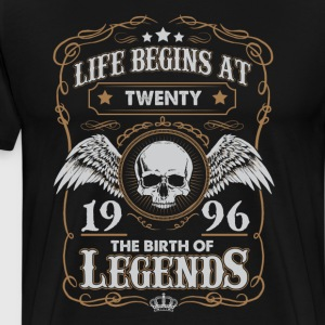 Life Begins At 1996 20 Years Old Birthday T-Shirt T-Shirts - Men's Premium T-Shirt
