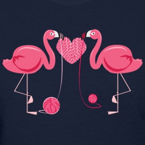 Flamingos Knit Heart Shape Women's T-Shirts - Women's T-Shirt