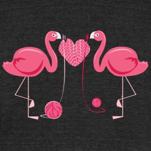Flamingos Knit Heart Shape T-Shirts - Unisex Tri-Blend T-Shirt by American Apparel