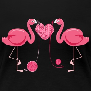 Flamingos Knit Heart Shape Women's T-Shirts - Women's Premium T-Shirt