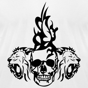 skull dead tribal lion T-Shirts - Men's T-Shirt by American Apparel