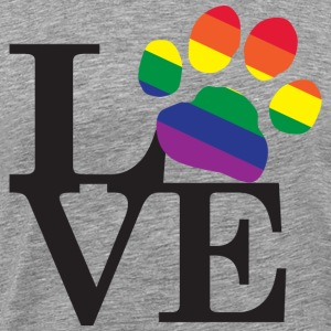 Love with a Gay Pride Paw Print - Men's Premium T-Shirt