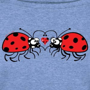 Adorable ladybugs sweetly falling in love Long Sleeve Shirts - Women's Wideneck Sweatshirt