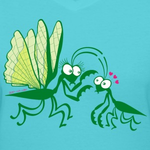 Praying mantises dangerously falling in love Women's T-Shirts - Women's V-Neck T-Shirt