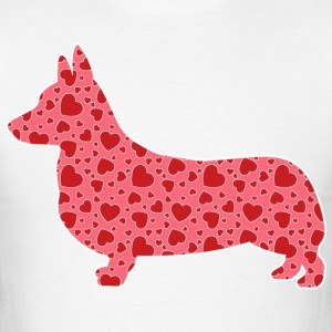 Corgi, Valentine's Hearts - Men's T-Shirt