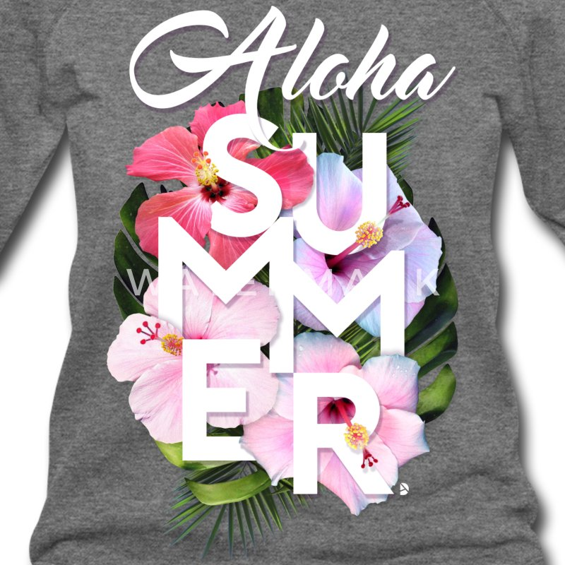 AD Aloha Summer Long Sleeve Shirts - Women's Wideneck Sweatshirt