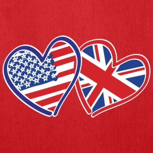 USA and UK Patriotic Heart Flags - Tote Bag