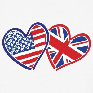USA and UK Patriotic Heart Flags - Baseball T-Shirt