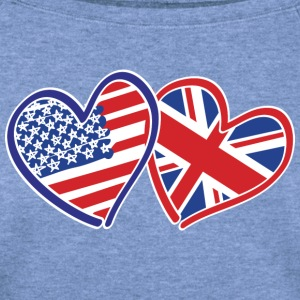 USA and UK Patriotic Heart Flags - Women's Wideneck Sweatshirt