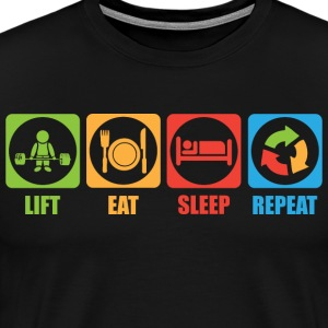 Lift, Eat, Sleep, Repeat (Pictograms) T-Shirts - Men's Premium T-Shirt