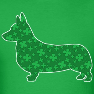 Corgi, St. Patrick's Day Shamrocks - Men's T-Shirt
