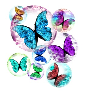 Butterflies mixed color bubbles