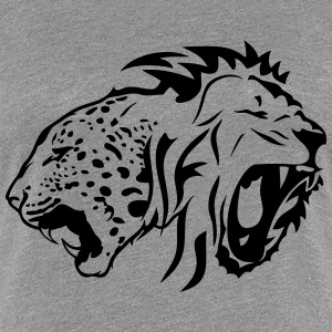 tribal lion wild tiger head roaring T-Shirts - Women's Premium T-Shirt