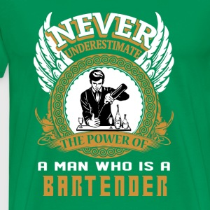 bartender - the power of a man is a bartender - Men's Premium T-Shirt