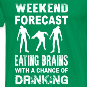 Zombie-Weeken forecast zomebie eating brains - Men's Premium T-Shirt
