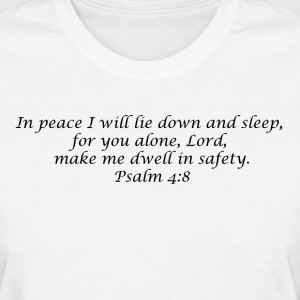 Psalm 4:8 - Womens T - Black Font - Women's T-Shirt