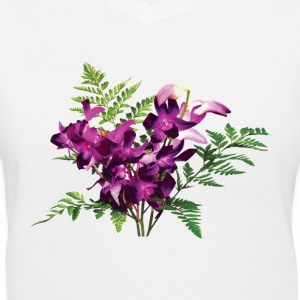 Bouquet of Purple Orchids and Ferns - Women's V-Neck T-Shirt