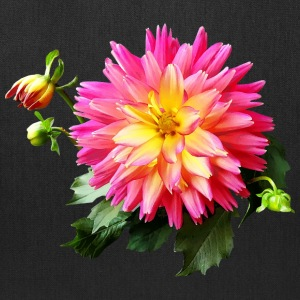 Vivid Pink And Yellow Dahlia - Tote Bag