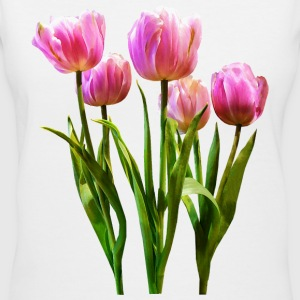 Pink Pastel Tulips - Women's V-Neck T-Shirt
