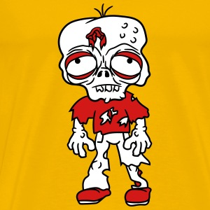 sad tired zombie funny face head undead horror mon T-Shirts - Men's Premium T-Shirt