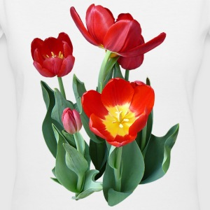 Bright Red Tulips Women's T-Shirts - Women's V-Neck T-Shirt