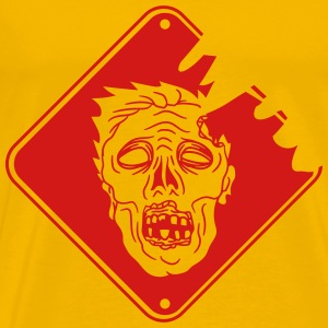 red danger warning sign caution dangerous face hor T-Shirts - Men's Premium T-Shirt