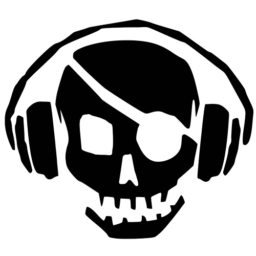 A dead skull/skeleton wearing headphones listening to the pulse and beats