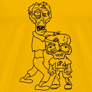 2 friends team few papa child boy family zombie ru T-Shirts - Men's Premium T-Shirt