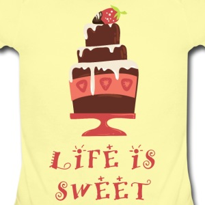 life_is_sweet_as_a_cake_06201607 Baby Bodysuits - Short Sleeve Baby Bodysuit