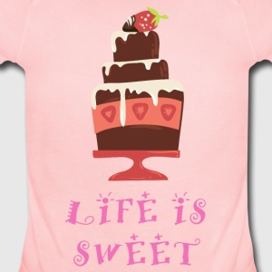 life_is_sweet_as_a_cake_06201609 Baby Bodysuits - Short Sleeve Baby Bodysuit