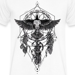 AD Skull Crow Dreamcatcher Mystic T-Shirts - Men's V-Neck T-Shirt by Canvas