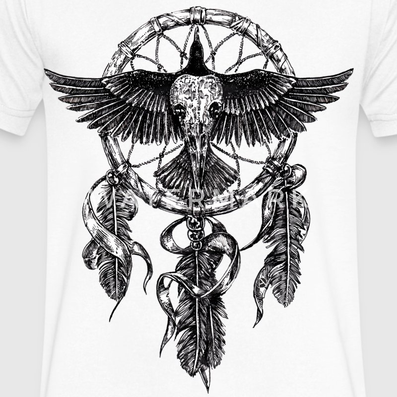 AD Skull Crow Dreamcatcher T-Shirts - Men's V-Neck T-Shirt by Canvas