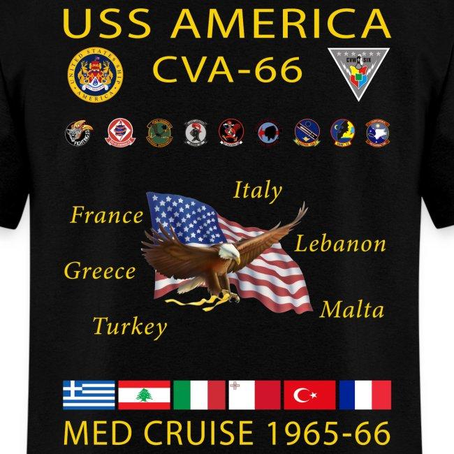 USS AMERICA CVA-66 1965-66 CRUISE SHIRT