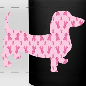 Cute cuddly Dachshund supporting Cancer Research - Full Color Panoramic Mug
