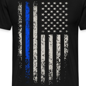 US Flag Blue Line T-Shirts - Men's Premium T-Shirt