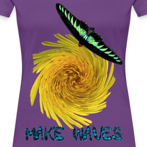 Stylish Butterfly Floral Women's Indigo T-Shirt - Women's Premium T-Shirt