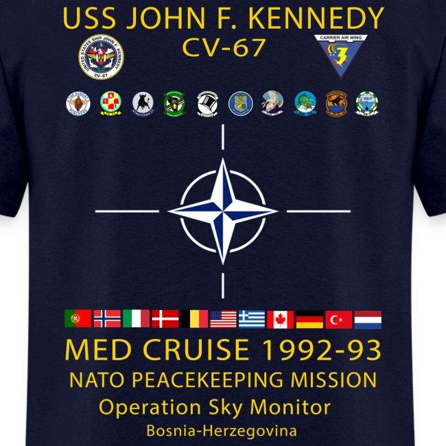 USS JOHN F KENNEDY CV-67 MED CRUISE 1992-93 CRUISE SHIRT