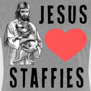 Jesus Loves Staffies (B) T-Shirts - Women's Premium T-Shirt