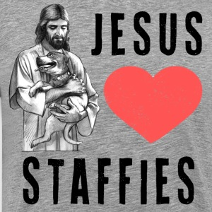 Jesus Loves Staffies (B) T-Shirts - Men's Premium T-Shirt